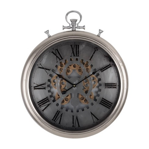 Hereford Pocketed Wall Clock Dark Silver - A&B Home - image 1 of 1
