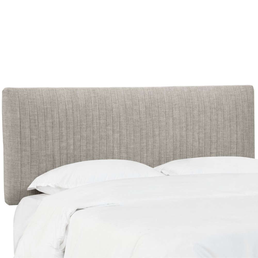 California King Skylar Upholstered Pleated Headboard Feather Gray Velvet - Cloth & Co., Feather Gray Linen