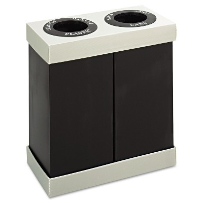 Safco At-Your-Disposal Recycling Center Polyethylene Two 28gal Bins Black 9794BL