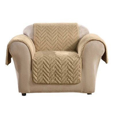 Quilted Faux Fur Chair Furniture Protector Blonde - Sure Fit