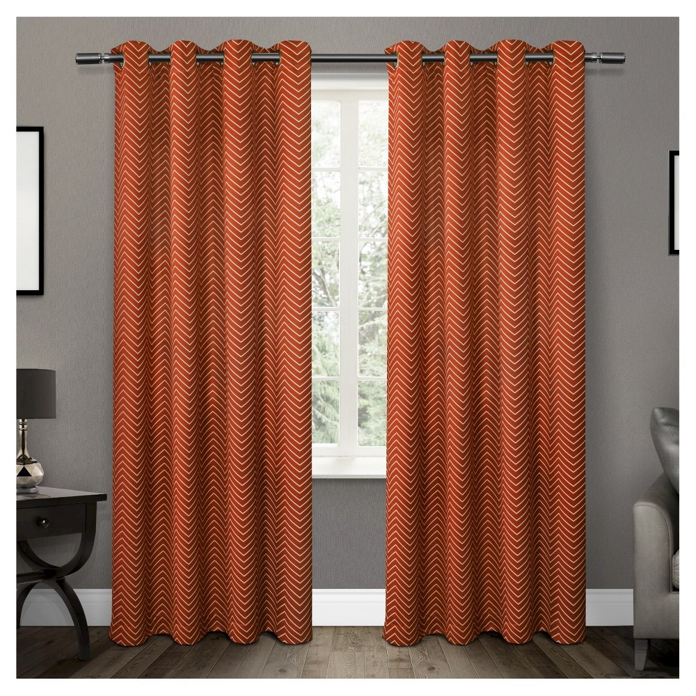 Set of 2 / Pair Chevron Blackout Thermal Grommet Top Window Curtain Panels Mecca Orange (52