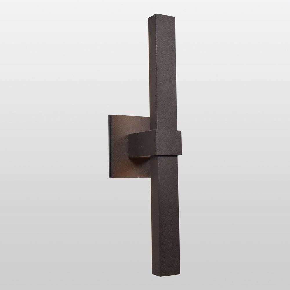 Vertical Marine Grade Outdoor Led Wall Light with Acrylic Lens and Glass Shade Bronze - Access Lighting