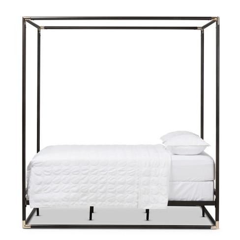 Eva Vintage Finished Metal Canopy Bed Queen Black Baxton Studio Target