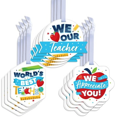 Big Dot of Happiness Thank You Teachers - Assorted Hanging Teacher Appreciation Favor Tags - Gift Tag Toppers - Set of 12