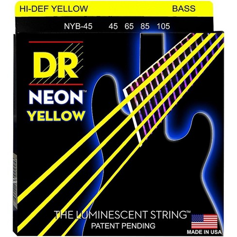 DR Strings NEON Hi-Def Yellow Bass SuperStrings Medium 4-String - image 1 of 2