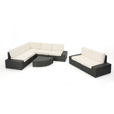 Santa Cruz 8pc Wicker Sectional Sofa Set With Water Resistant Cushions    Christopher Knight Home