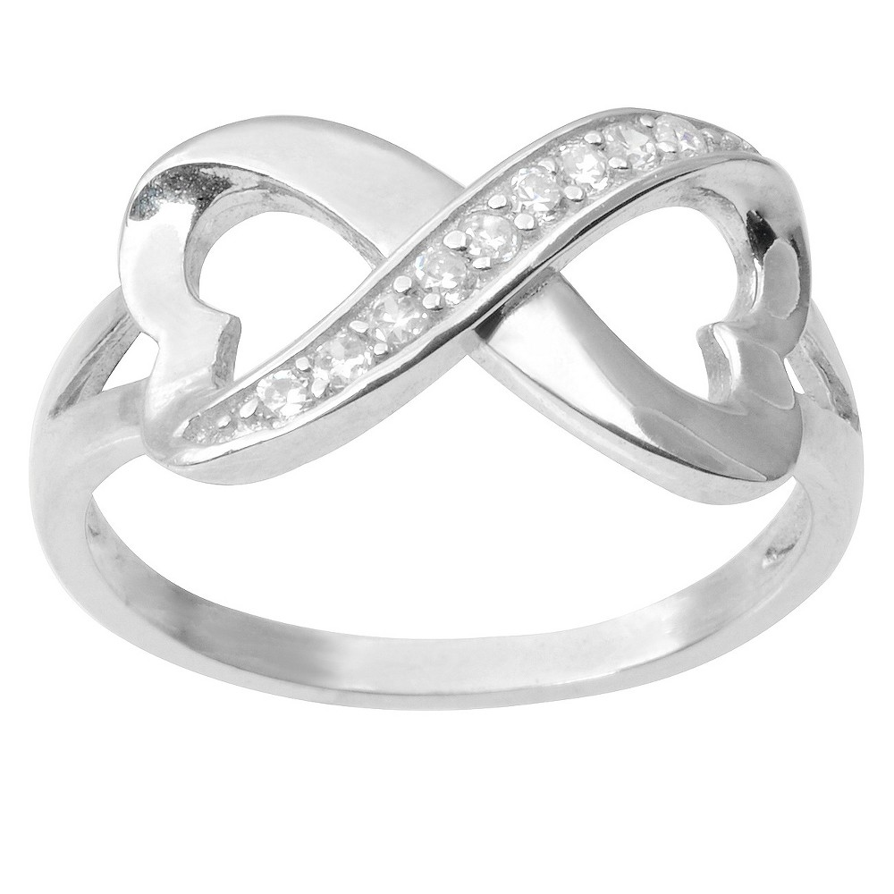 7/8 CT. T.W. Round-cut CZ Infinity Accent Pave Set Ring in Sterling Silver - Silver, 8, Girl's