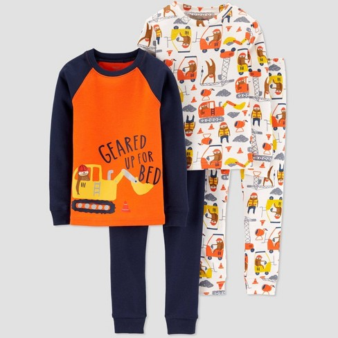 Toddler Boys' 4pc Sloth & Construction 100% Cotton Pajama Set - Just One You® made by carter's Orange - image 1 of 1