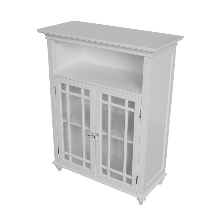 Neal 2 Door Floor Cabinet White - Elegant Home Fashions - image 1 of 5