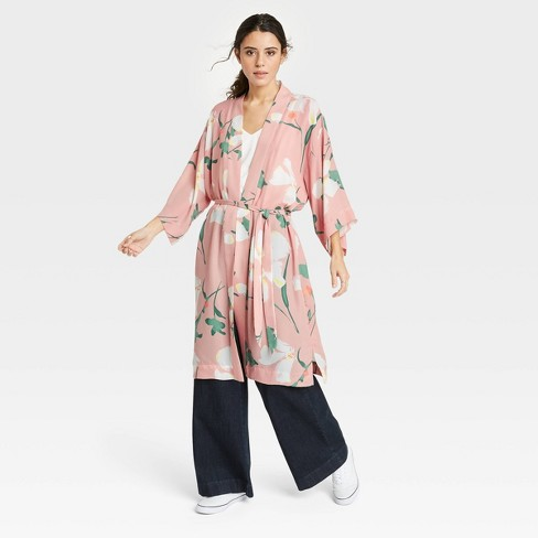 Women's Floral Print Duster - A New Day™ Blush - image 1 of 2