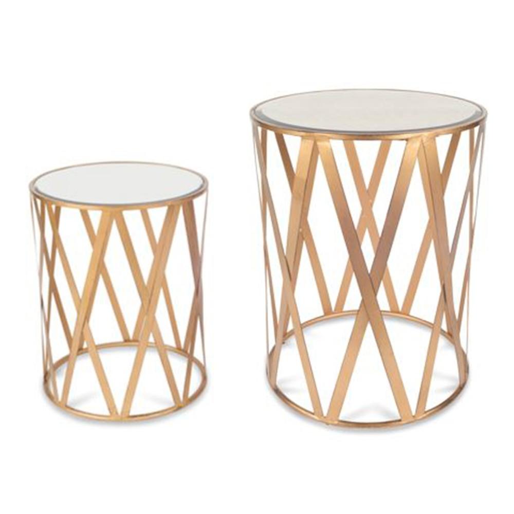 Katrine Clifton Drum Table Set Brushed Gold - Jamesdar