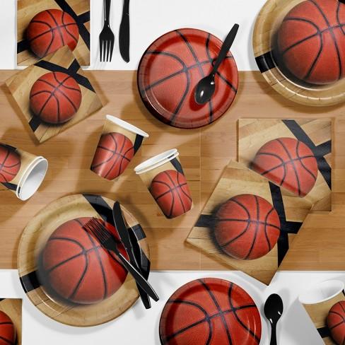 85pk Basketball Supplies Party Kit Disposable Dinnerware Set Orange/Brown - image 1 of 4