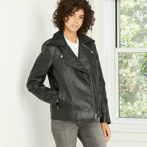 Women's Classic Moto Jacket - Universal Thread™ Black - image 1 of 3