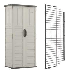 Suncast Vertical Storage Shed Building Bundled w/ Metal Wire Shelf Rack Shelving