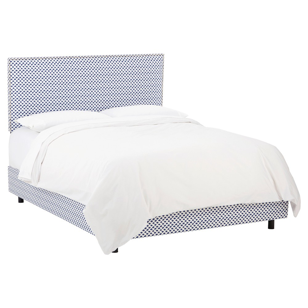 Twin Arcadia Nailbutton Patterned Bed Sahara Midnight White Flax - Skyline Furniture