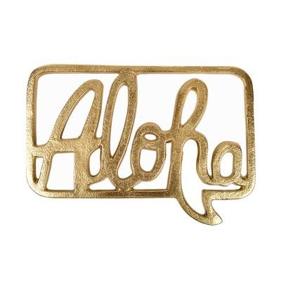 5.5 x0.6  Aloha Cast Aluminum Decorative Wall Sculpture Light Gold