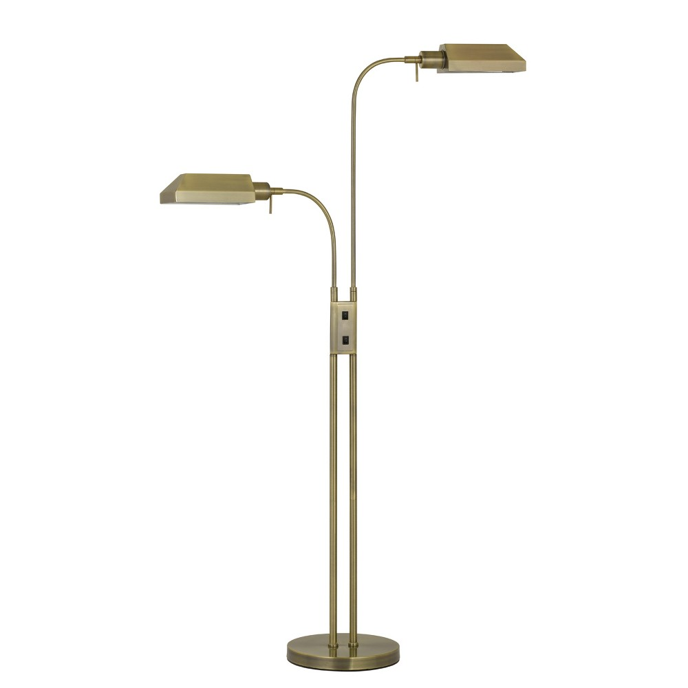 Pharmacy Dual Height Floor Lamp With On Off Rocker Switch Antique Brass 5