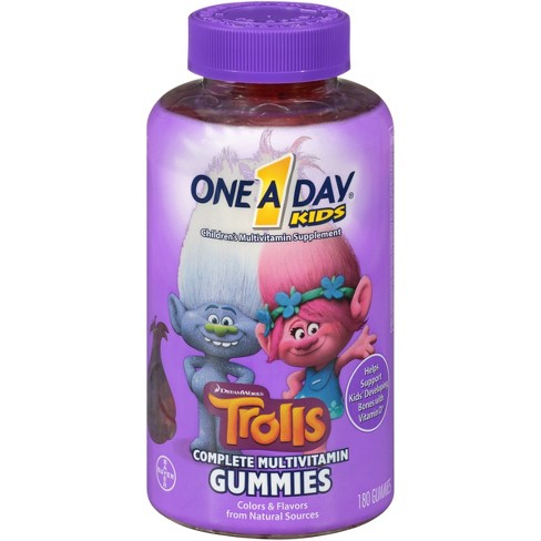 One A Day Kids Trolls Complete Multivitamin Gummies - Fruit Flavors - 180ct - image 1 of 4