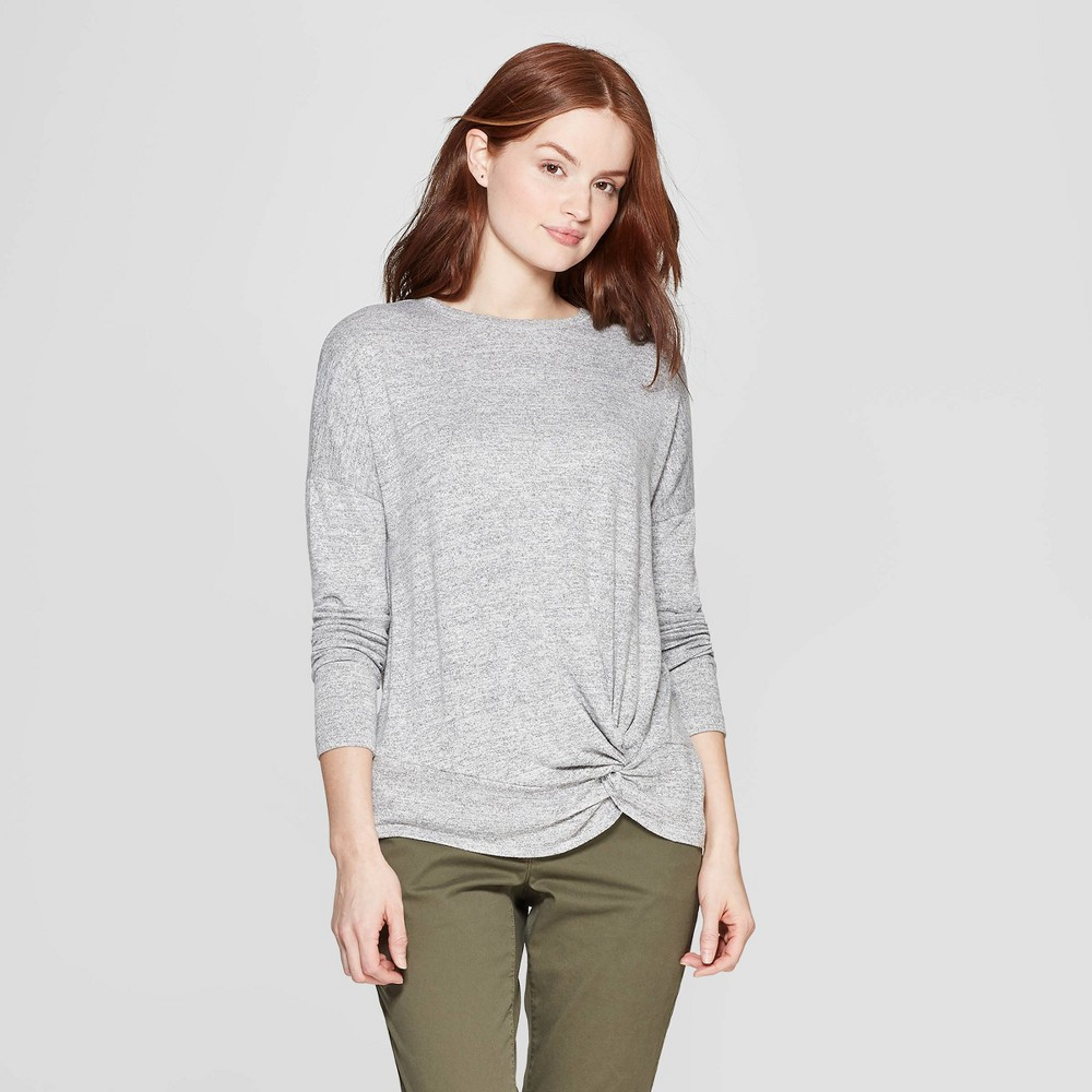 Women's Easy Fit Long Sleeve Crewneck Banded Collar T-Shirt - A New Day Gray L