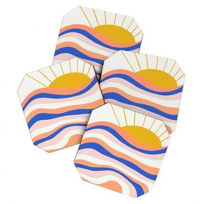 4pk Sunshine Canteen Sunrise Surf Coasters - society6