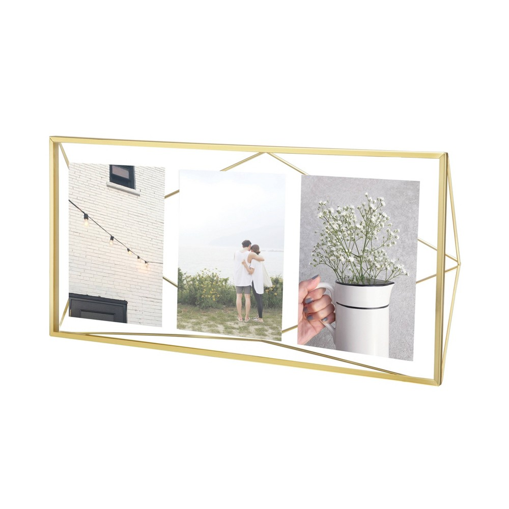 Image of 3p Prisma Multiple Photo Display Frame Matte Brass - Umbra