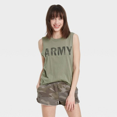 Women's Army Cropped Graphic Tank Top - Green