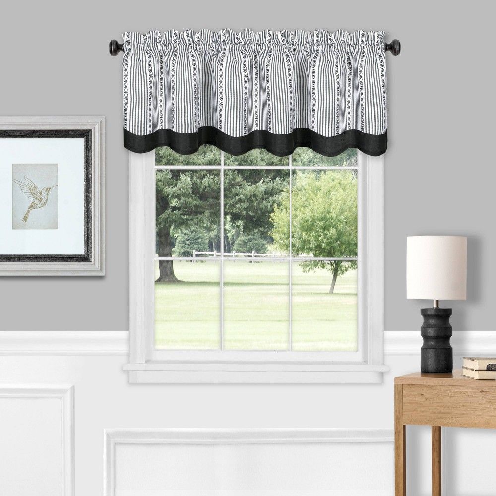 "Image of ""14""""x58"""" Westport Light Filtering Window Curtain Valance Black/White - Achim"""