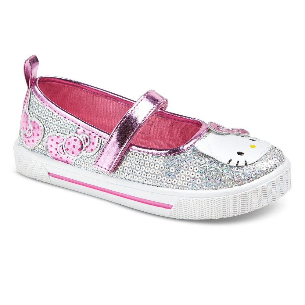 Toddler Girls' Hello Kitty Glitter Mary Jane Shoes - Silver 11, Light Silver
