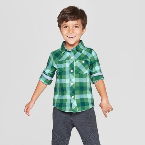Genuine Kids® from OshKosh Toddler Boys' Long Sleeve Poplin Plaid Button-Down Shirt - Green - image 1 of 3