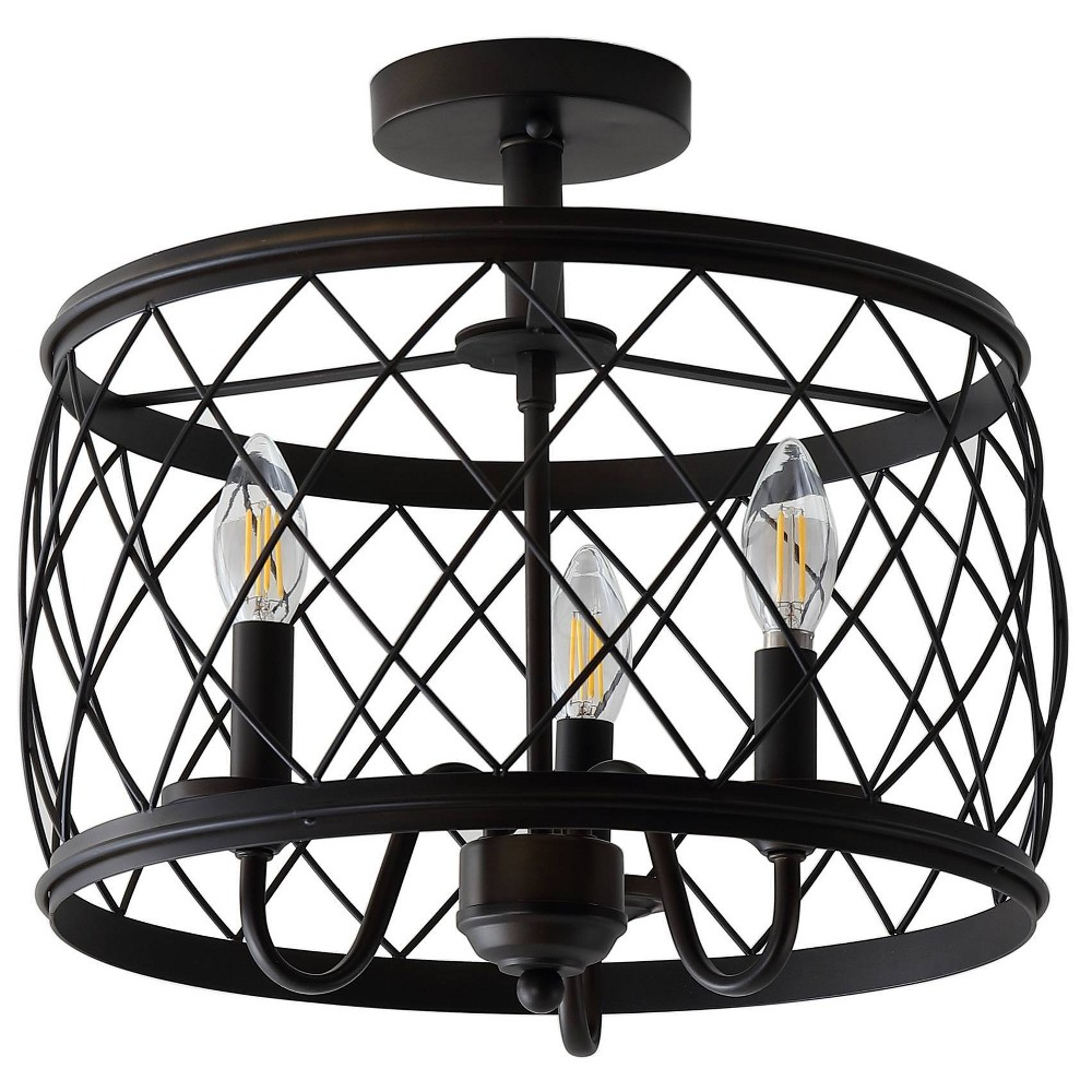 "Image of ""15"""" Eleanor Metal LED Semi Flush Mount Ceiling Light Black (Includes Energy Efficient Light Bulb) - JONATHAN Y"""