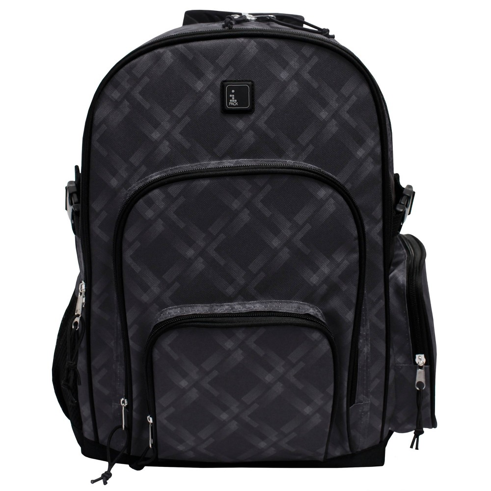 "Image of ""iPACK 17.5"""" Plaid Print Backpack - Dark Gray, Size: Large"""
