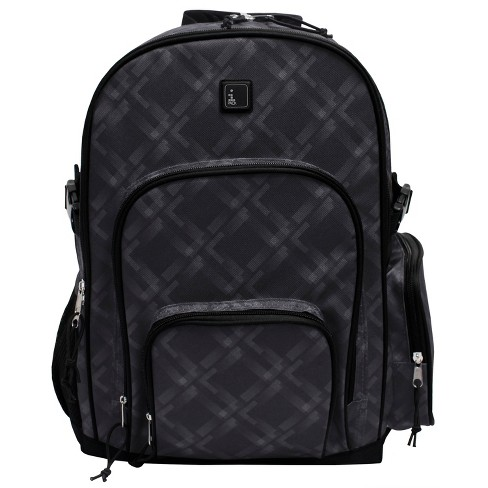 "iPACK 17.5"" Plaid Print Backpack - Dark Gray - image 1 of 9"