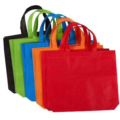 Juvale 10-Pack Gift Tote Bags Reusable Grocery Bags, Party Favors Bags (5 Colors, 14.86 x 12.5 In)