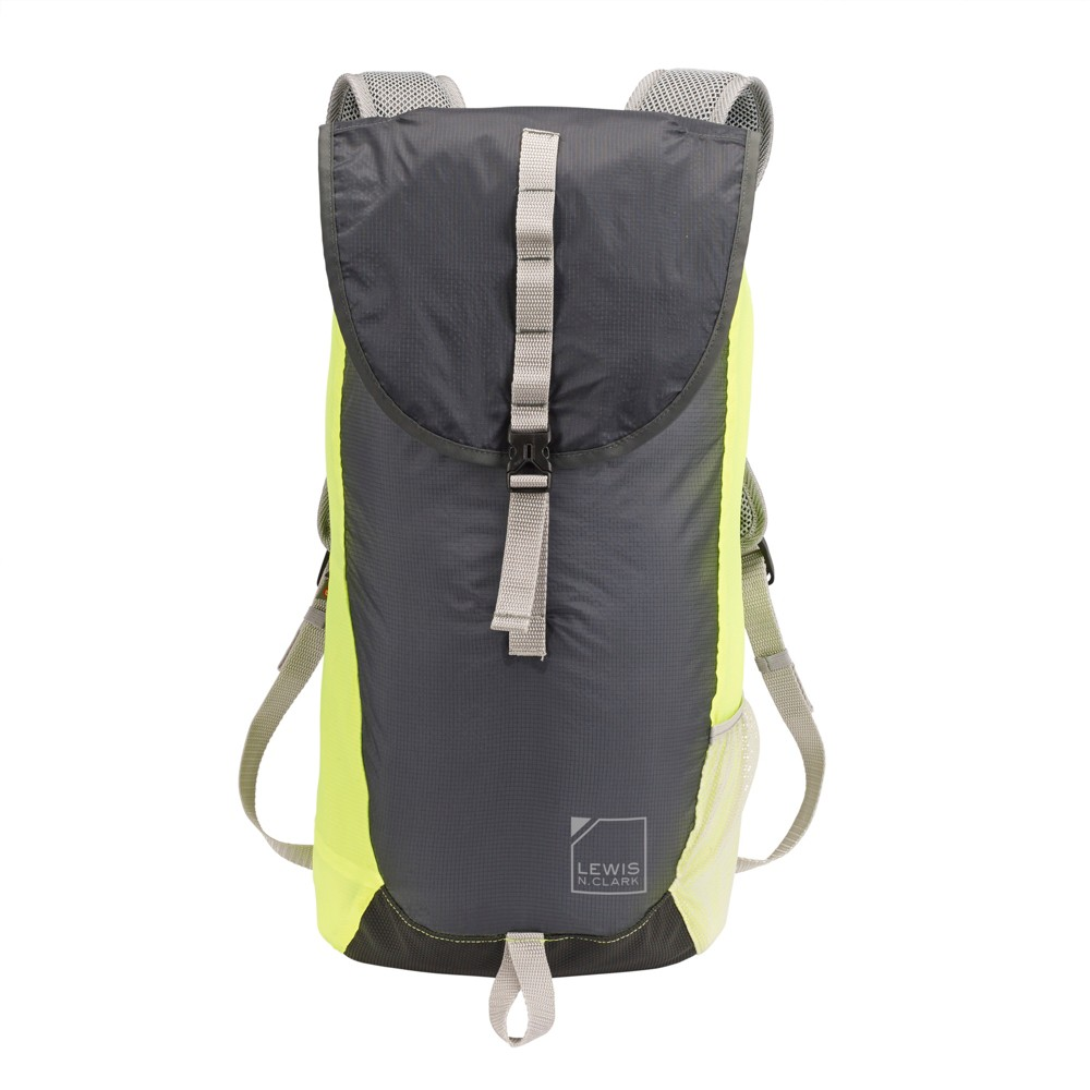 Image of Lewis N. Clark ElectroLight Day Backpack - RFID Protected (Charcoal Gray/Neon Yellow), Size: Small, Blue
