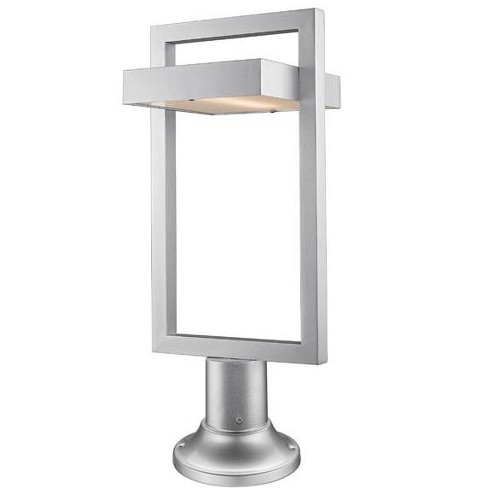Z Lite 566phbr 553pm Led Luttrel Single Light 25 5 8 Tall Integrated Outdoor Pier Mount Post Silver