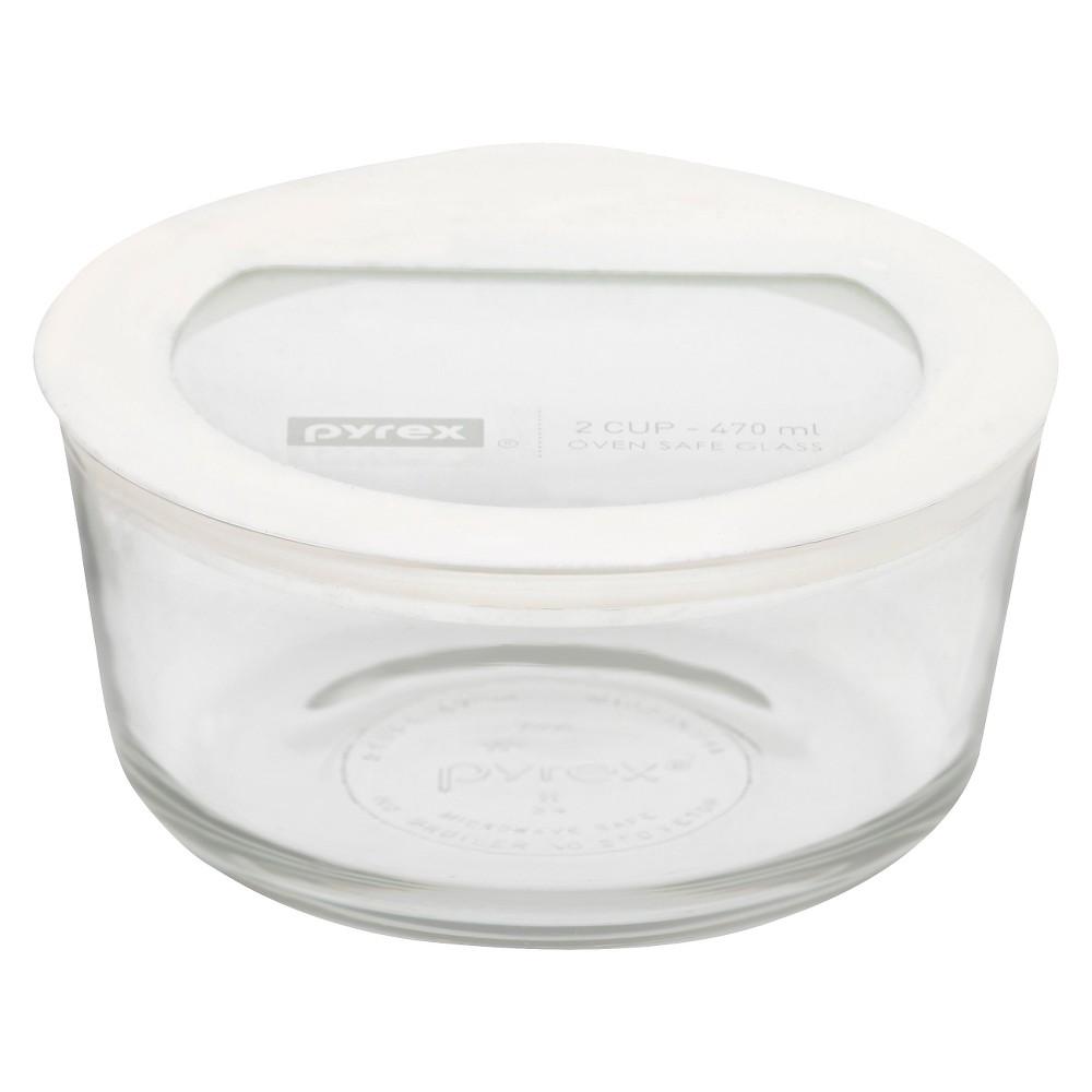Pyrex No leak Glass Lids Storage 2 cup Round- White