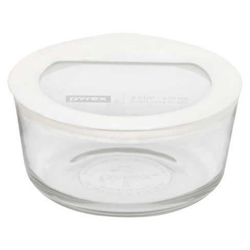Pyrex No leak Glass Lids Storage 2 cup Round- White - image 1 of 1