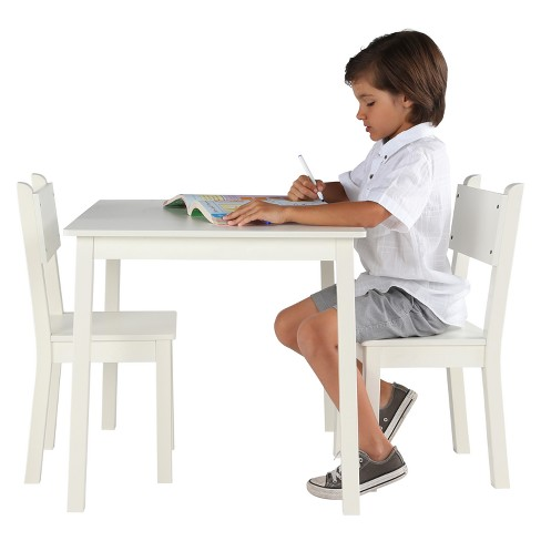 Awesome Kids Rectangular Table 2 Chairs Large White Curious Lion Dailytribune Chair Design For Home Dailytribuneorg