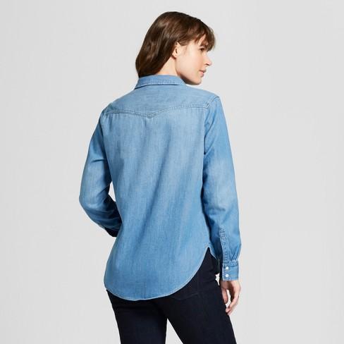 466aa7bc589 Women s Western Denim Shirt Long Sleeve Button-Down Shirt - Universal  Thread™ Medium Wash