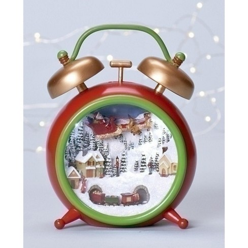 Roman 6 Amusements Musical Vintage Style Alarm Clock With Christmas