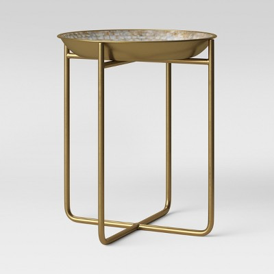Zizia Capiz Tray Accent Table White top with Brass Base - Opalhouse™