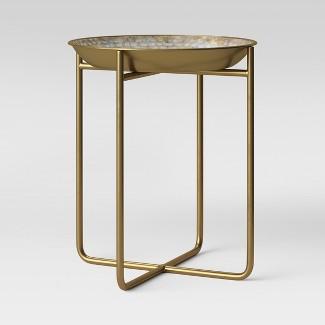 Zizia Capiz Tray Accent Table White top with Brass Base - Opalhouse™