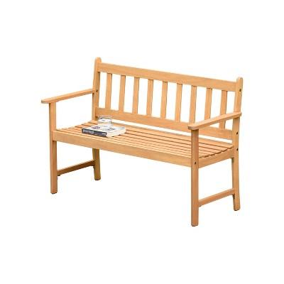 Laura 2-Seat Patio Bench w/ Teak Finish - Brown - Amazonia