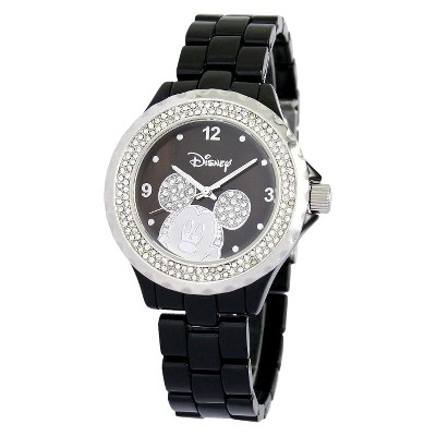 Disney Mickey Mouse Link Watch with Black Dial and Stones - Black