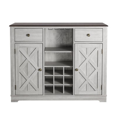 """47"""" Wood Bar Cabinet with Brushed Nickel Knobs White - Home Essentials"""