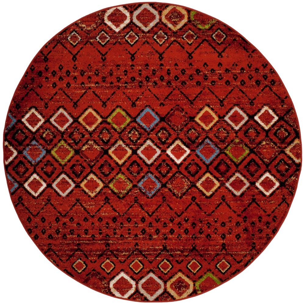 5 1 Geometric Round Area Rug Terracotta Safavieh
