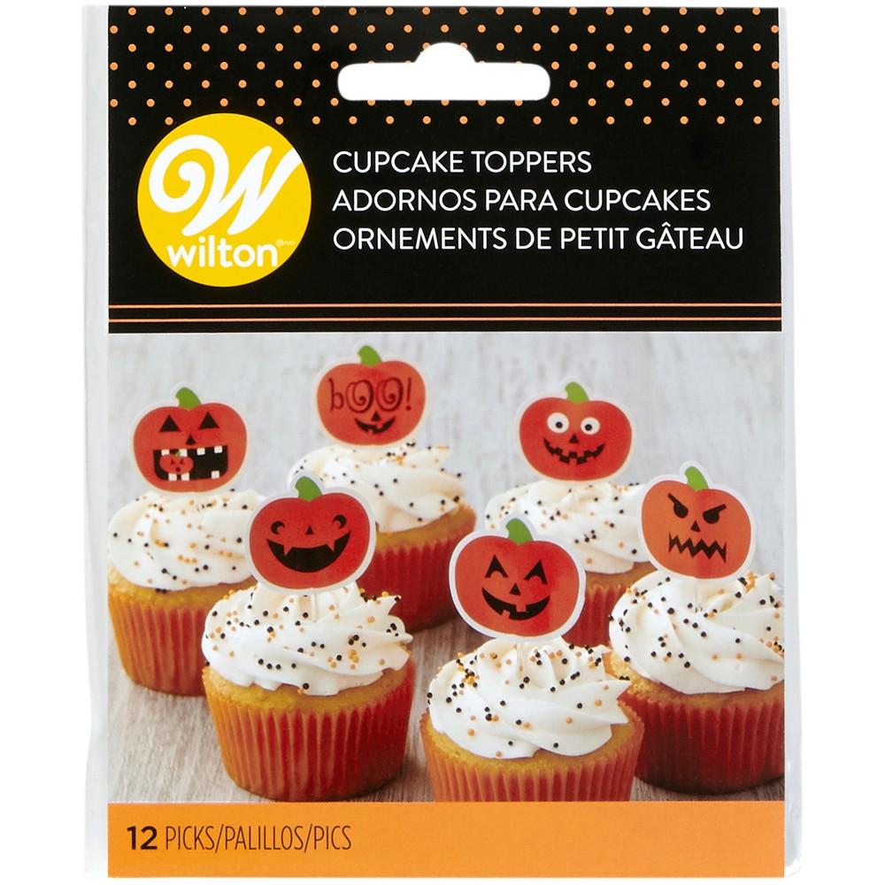 12pk Pumpkin Cupcake Toppers Orange - Wilton