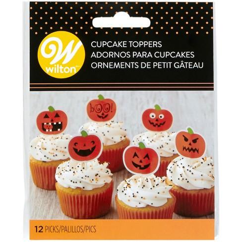 12pk Pumpkin Cupcake Toppers Orange