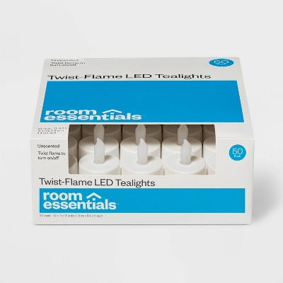50ct Twist-Flame LED Tealight Candles (White) - Room Essentials™