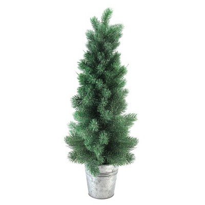 "Northlight 25"" Unlit Artificial Christmas Tree Potted Slim Iced Mini Pine in Galvanized Bucket"
